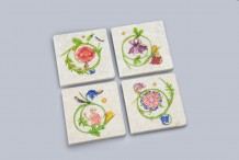 Marble tiles with miniature paintings