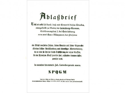Letter of indulgence for typing errors – in the name of Gutenberg